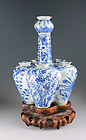 Finely decorated Chinese blue & white tulip vase, Qing Dynasty