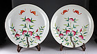 Fine pair of Chinese porcelain dishes w peaches, Qing Dynasty