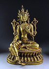 Large and impressive sino-tibetan / gilt bronze Green Tara!