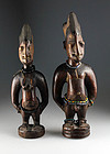 Nigeria African twin wooden figures, Yoruba people, 19th. cent.