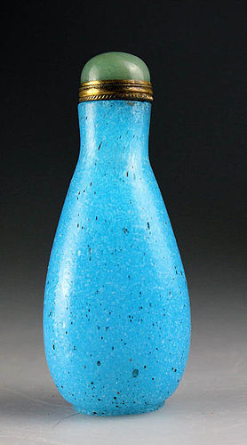 Persian blue Chinese Peking Glass snuff bottle, 19th. century