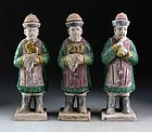Set of three Chinese Ming Dynasty pottery figures, 1368-1644 AD