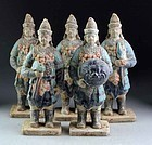 Set of 5 Chinese tomb pottery soldiers, Ming Dynasty!