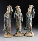 Three Chinese tomb pottery court ladies, Late Ming Dynasty