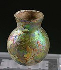 Small Roman glass flask with outstanding iridescence - a gem!