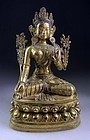 Large gilt bronze figure of the seated Tara, Sino-Tibetan!