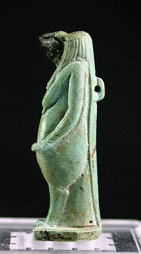 Rare and exceptional large Egypt Thoeris / Tawaret faiance amulet!