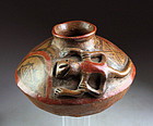 Zoomorphic Pre-columbian Narino / Carchi pottery Olla with lizzard!