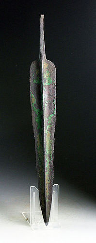 Large Ancient bronze lances with red and green patina, 2nd. mill. BC