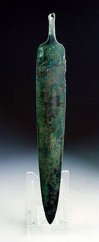 CHOICE LARGE LURISTAN BRONZE DAGGER, LATE 3RD.-EARLY 2ND. MILLENIUM BC