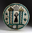 Rare Islamic Medieval glazed pottery tile with Mosque!