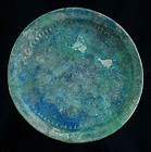 A rare & choice torquise islamic pottery dish, ca. 12th. century AD