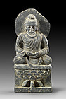 Exceptional Early Gandhara Grey Schist Buddha on lotus throne!