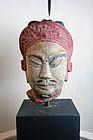 Huge Lifesize Chinese painted stonehead of an officer!