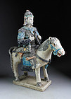 Superb Ming tomb pottery horseman officer w Bow and Quiver!