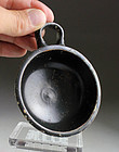 Superb Greek Italy Apulian pottery dish with black glaze