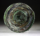 Superb & rare Roman glass bowl with decorative handles!