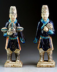 Superb set of two lovely China Ming Dynasty attendants!