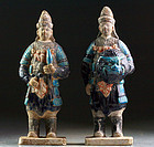 Set of two superb tomb pottery warriors, Ming Dynasty!