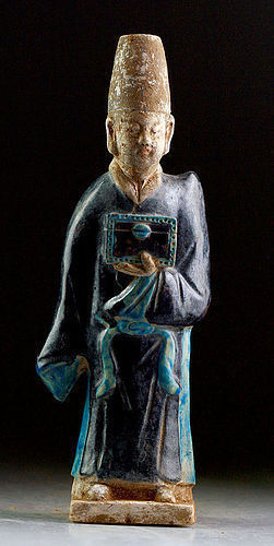 Large & superb Ming Dynasty pottery attendant or official!