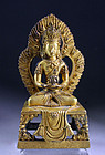 Early Sino-Tibetan gilt bronze figure of Buddha Amitayus
