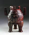Superb large Chinese achaistic blood-red jade vessel - gem!