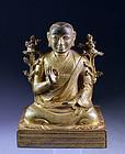 Superb Sino-Tibetan bronze figure of a Lama - inscribed!