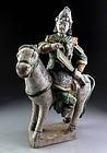 Chinese Ming Dynasty green glazed pottery horseman figure w. sword!
