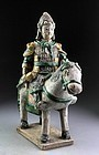 Ming Dynasty green glazed pottery horseman officer w. mace