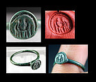 Fine Byzantine bronze seal ring with angels, 6th.-7th. century AD