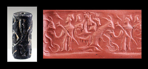 Splendid rare Babylonian Cylinder seal contest scene, 2nd. mill BC