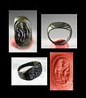 Beautiful Imperial Roman bronze seal (signet) ring w Mercury!