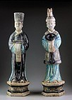 Pair of large high quality Chinese Ming pottery figures, male / female