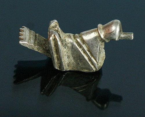 GREEK-ROMAN SILVER BIRD AMULET, DACIA 1.-2. cent. AD