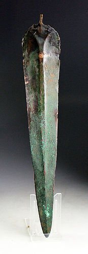 Ancient bronze sword with huge broad blade, c. 800 BC