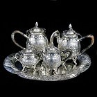 A German Silver Five Piece Repoussé Tea and Coffee Set - Hanau, 1890