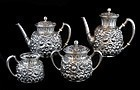 Gorham Sterling Silver 4 Piece Tea and Coffee Set Repoussé - C. 1863
