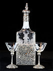 German Etched Crystal Sterling Silver Decanter - Marked Hanau, 1890