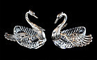 Set of 2 European Continental Sterling Silver and Crystal Swan Salter