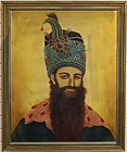 "Portrait of Fath-Ali Shah Qajar 24"" x 30"" Oil on Canvas with Frame"