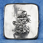 Antique Sterling Silver 925 Cigarette Case with Gamblers Decoration