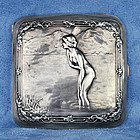 German Erotic Antique Art Nouveau Silver Cigarette Case