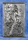 Vintage Dutch 830 Sterling Silver Nautical Themed Matchbox Cover