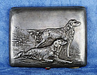 Russian Silver Cigarette Case - Golden Retriever Dogs - Old Patina