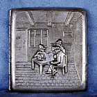 1946 German Cigarette Case Gambling Scene Hallmarked 94 grams