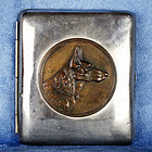 German Silver Plated Cigarette Box with Bronzed German Shepherd Dog