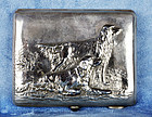 Russian Silver Cigarette Case Depicting Golden Retriever Dogs