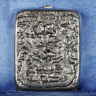 Rare Antique Asian Thai Silver Cigarette Box with Seven Heads Dragon