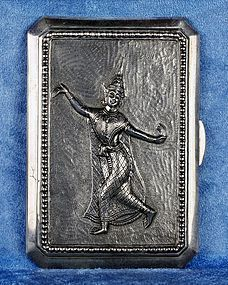 Rare Antique Asian Thai Embossed Silver Pocket Cigarette Box