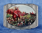 Antique Continental Silver Enameled Fox Hunt Cigarette Box